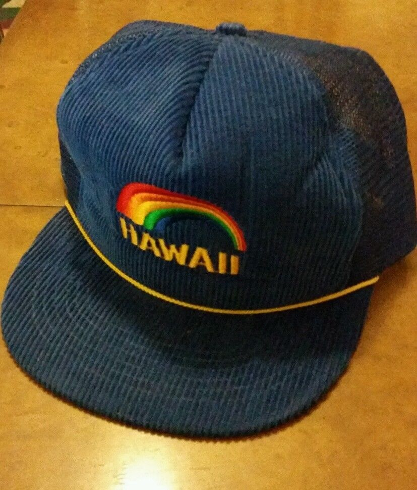 5e516028f3a Vintage 60 s Hawaii Rainbow Embroidered Corduroy Snapback Mesh Trucker Hat  in Clothing
