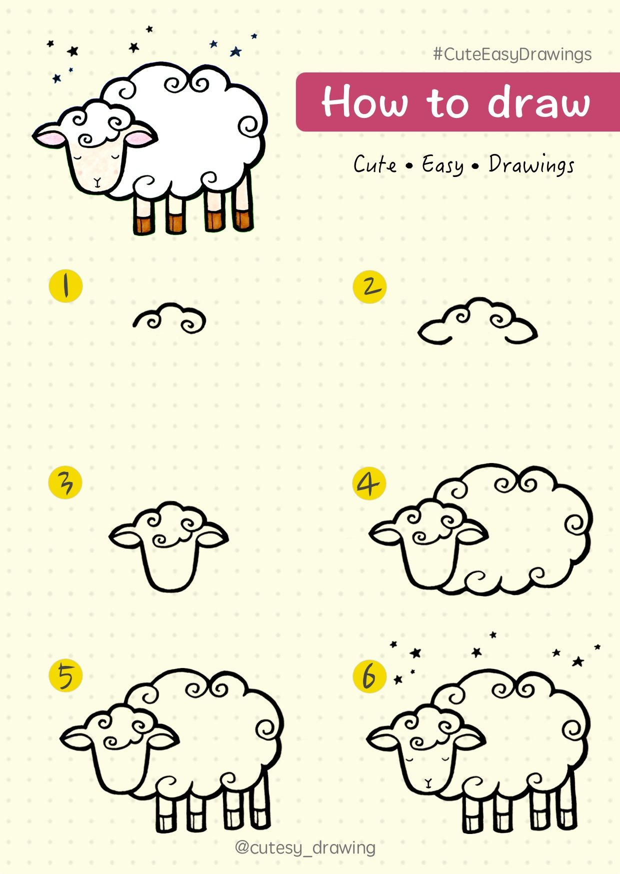 How To Draw Cute Sheep Step By Step Tutorial Cute Easy Drawings Lamb Drawing Cute Sheep