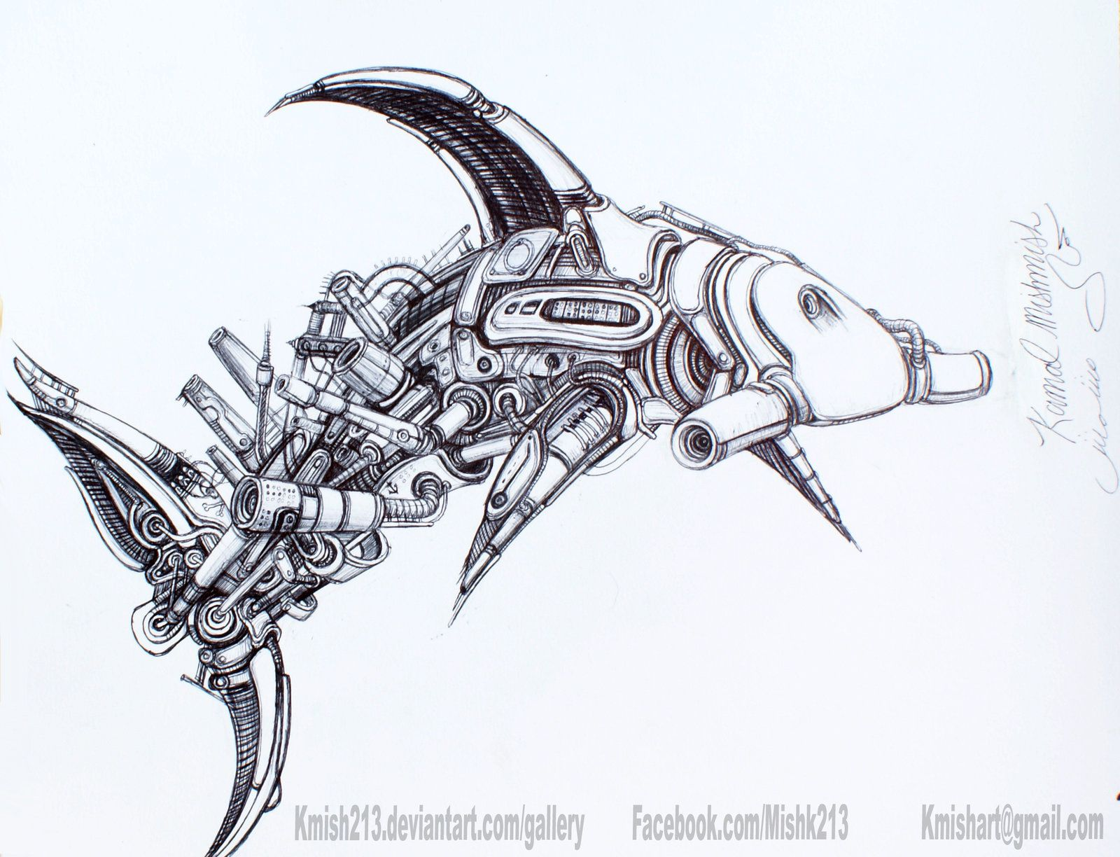 hammerhead shark machine by kmish213 watch traditional art