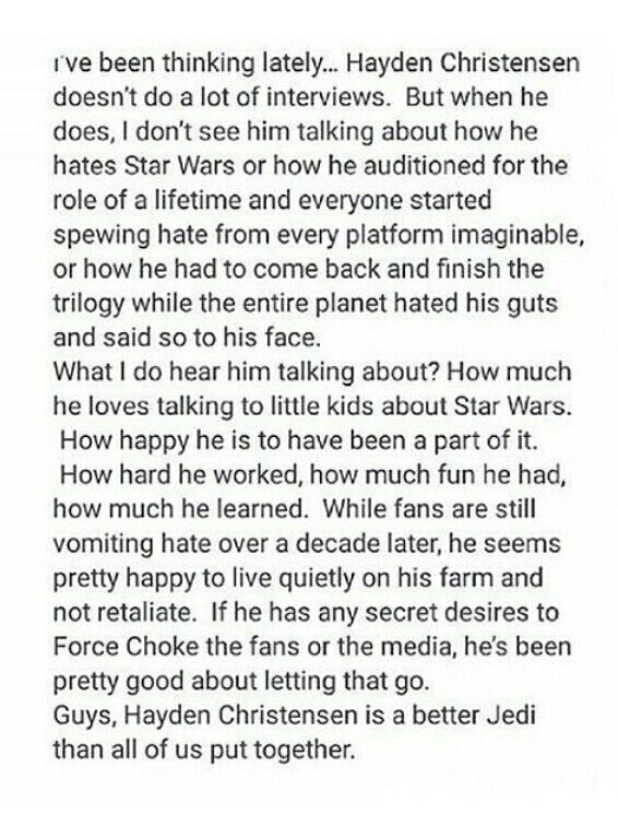 Yeah, no one could have made George Lucas's script sound good. He's not a great actor but people should move on