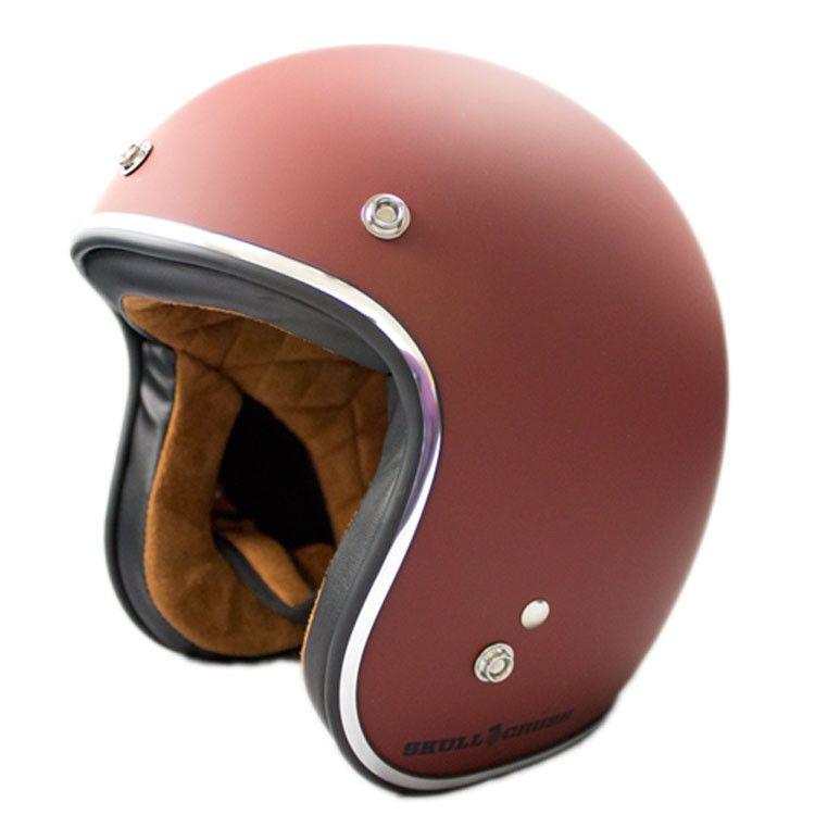 3 4 Open Face Vintage Helmet Red Primer Old School Motorcycle