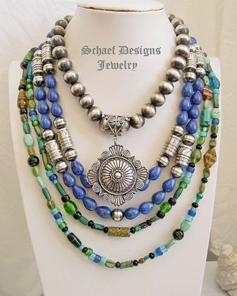 Schaef Designs Lapis & sterling silver tube & bench bead Southwestern necklace | Turquoise Jewelry | New Mexico