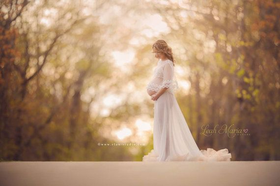 Photo of White Maternity Gown, Chiffon Maternity Dress, Plus Size, Maternity Dress for Photo shoot, Maternity Maxi Dress, Photoshoot Dress -The Meera