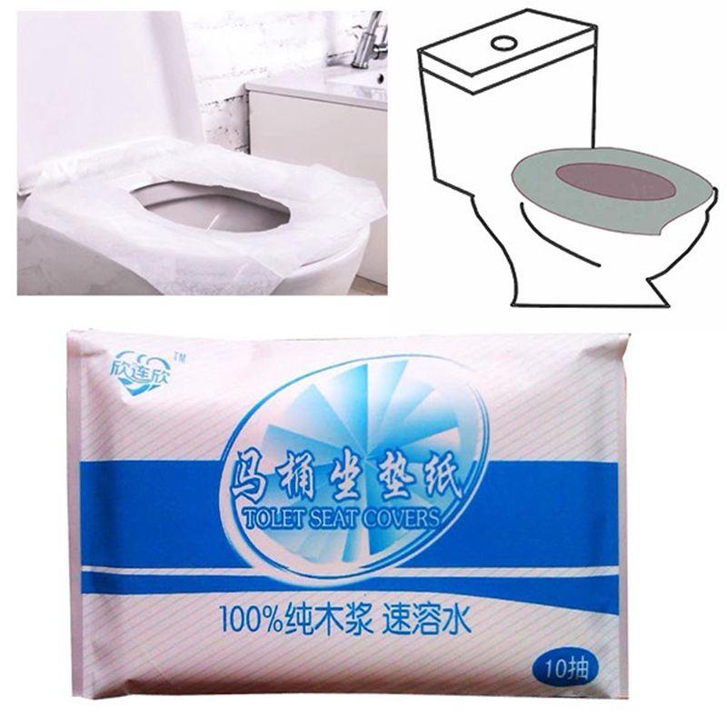 Hot Sale 10pcs Lot Travel Disposable Toilet Seat Cover Mat Waterproof Toilet Paper Pad Toilet Seat Cover Seat Cover Toilet Seat