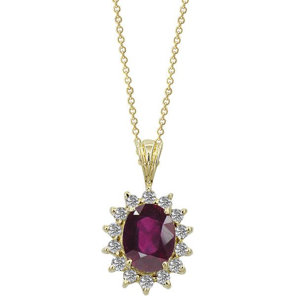 Effy Jewelry Gemma Royalty Treated Ruby & Diamond Pendant, 1.79 TCW ($1,695) ❤ liked on Polyvore featuring jewelry, pendants, ruby, ruby jewellery, ruby jewelry, diamond jewelry, charm pendant e diamond jewellery