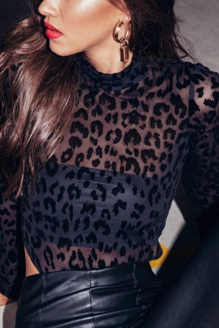 f3d3cd35d7c1e1 Black Leopard Pattern Sexy See-through Slim Bodysuit Top -Sugar&Vapor