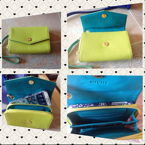 PHONE WALLET - CHARTREUSE If your mobile phone is the most important thing you carry, this unique Phone Wallet is designed just for you!Bright textured faux leather in brilliant chartreuse green is complemented by teal accents. Specially-designed phone pocket lets you hear your device ring, and easy snap closure allows you to pick up in time. Secure interior zipped pockets holds all your bills and cards with ease.