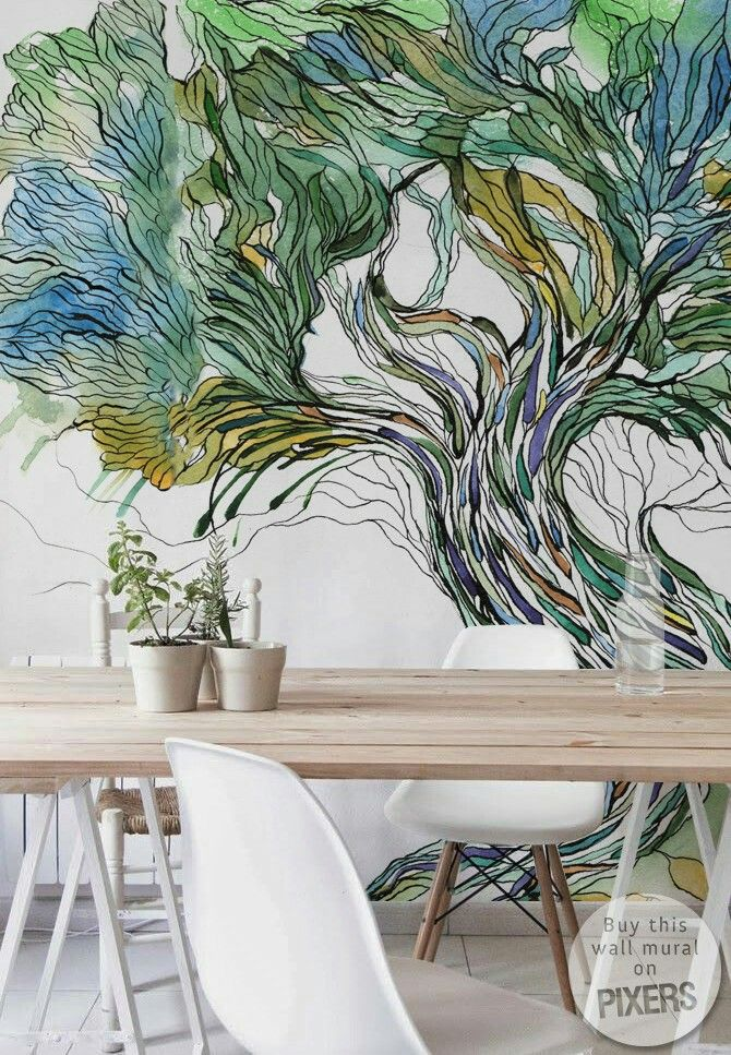 tree wall murals image by rungratree on seaweed painting on wall murals id=29584