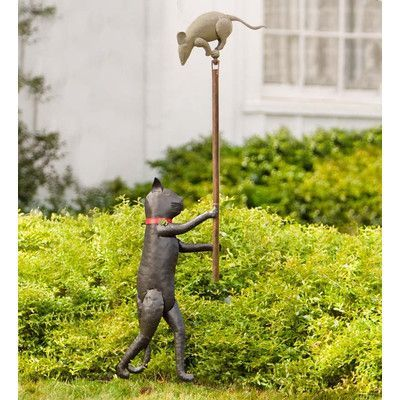 Wind Weather Handcrafted Cat And Mouse Balancer Garden Stake