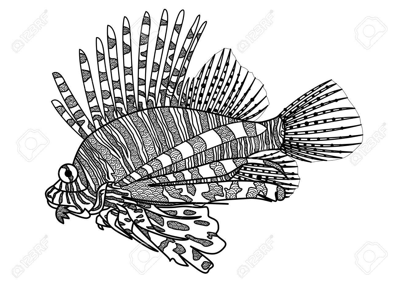 Digital Drawing Zentangle Lion Fish For Coloring Book Tattoo Shirt Design Sponsored Lion Fish Zentangle Di Tattoo Shirt Design Lion Fish Book Tattoo