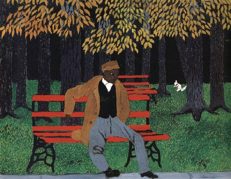 Horace Pippin A man on a bench, 1946 | folk, ethnic, other ...
