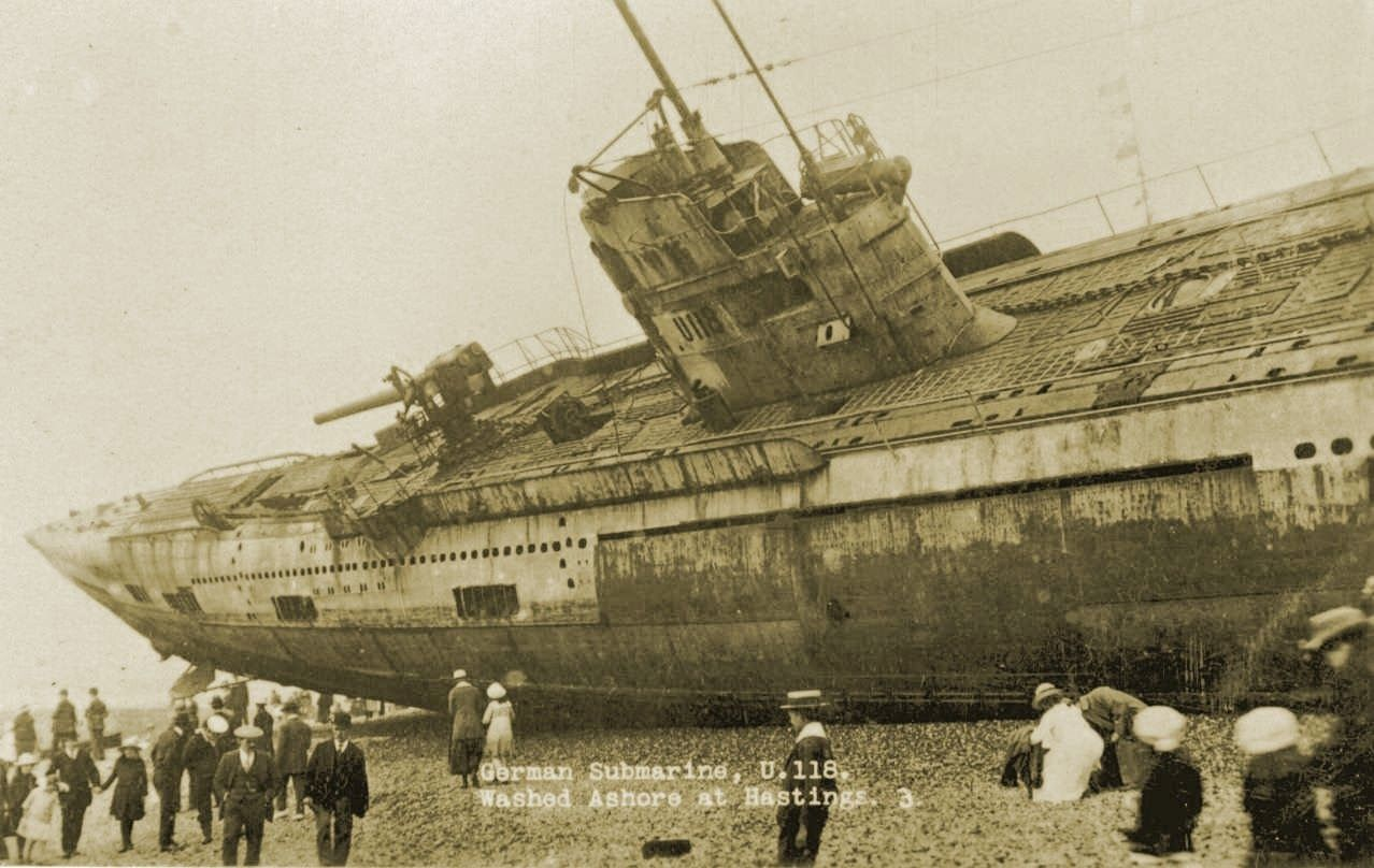 U-118, a World War One submarine washed ashore on the beach at Hastings, England