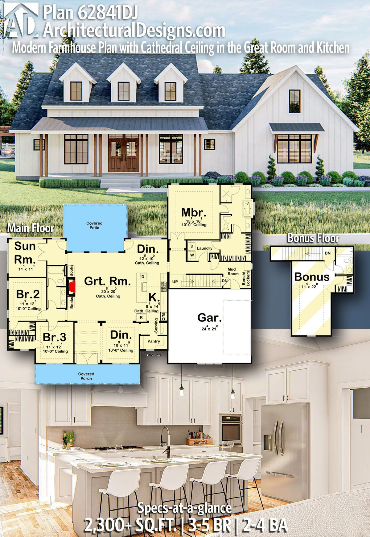 Plan 62841dj Modern Farmhouse Plan With Cathedral Ceiling In The Great Room And Kitchen In 2020 Modern Farmhouse Plans Farmhouse Plans House Plans Farmhouse