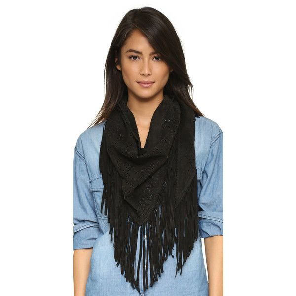 Treasures Milla Small Triangle Scarf ($385) ❤ liked on Polyvore featuring accessories, scarves, black, fringe scarves, triangle shawl, triangular scarves, black scarves and triangle scarves