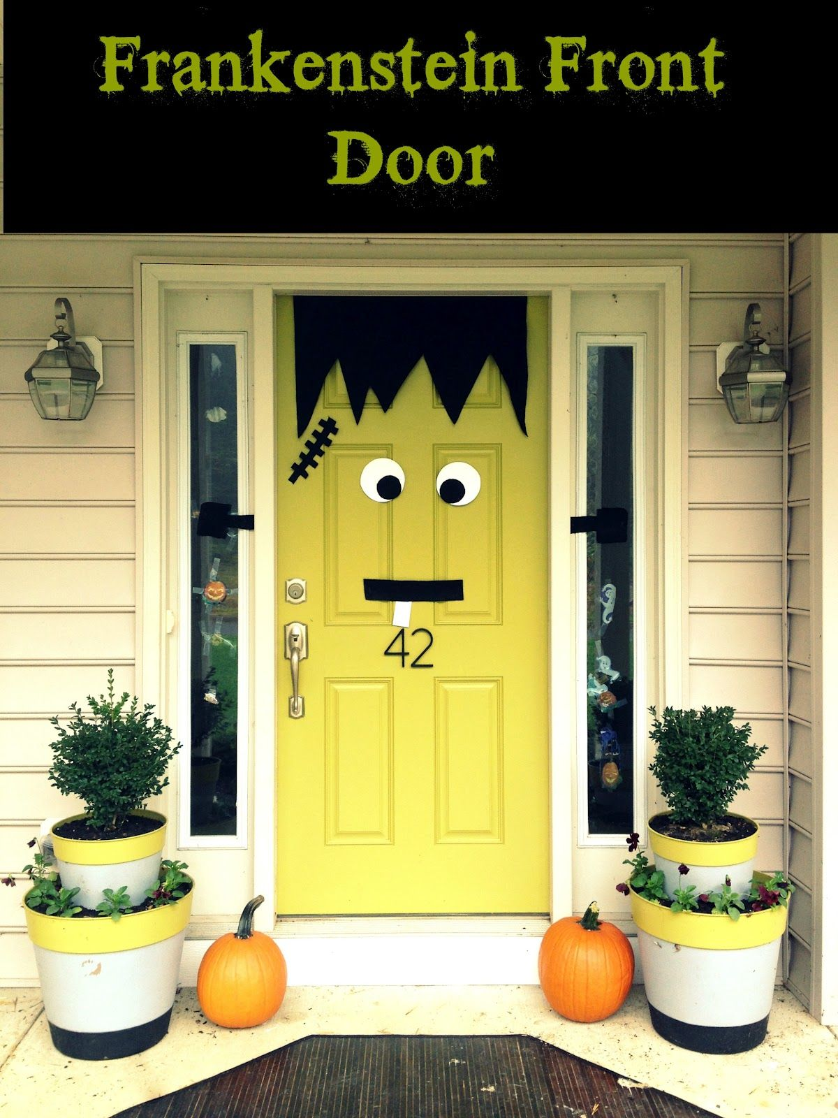 Frankenstein Front Door Fall/Halloween Pinterest Frankenstein - Cubicle Halloween Decorations