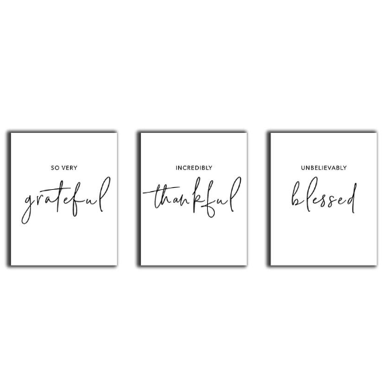 So Very Thankful Incredibly Grateful Unbelievably Blessed Wall Art Wall Art Sets Typography Wall Decor Room Wall Decor