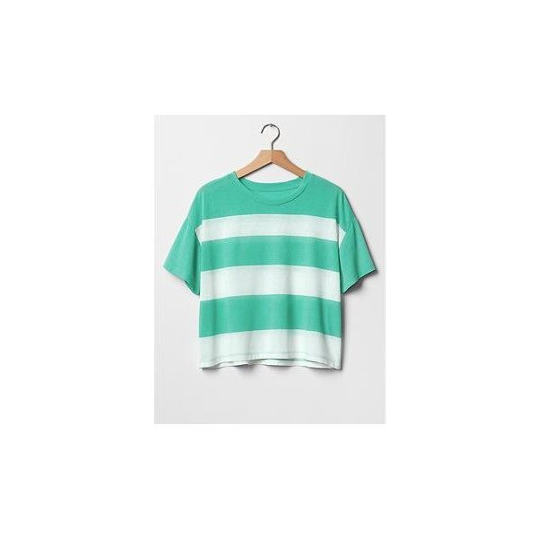 ff069c918a811 Gap Women Stripe Crop Tee ( 9.99) ❤ liked on Polyvore featuring tops
