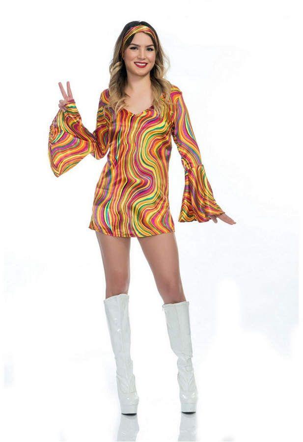 Women's Rainbow Lights Disco Diva Adult Costume