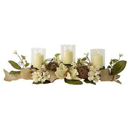 Burlap Magnolia Centerpiece Magnolia Centerpiece Table Centerpieces For Home Dining Room Centerpiece