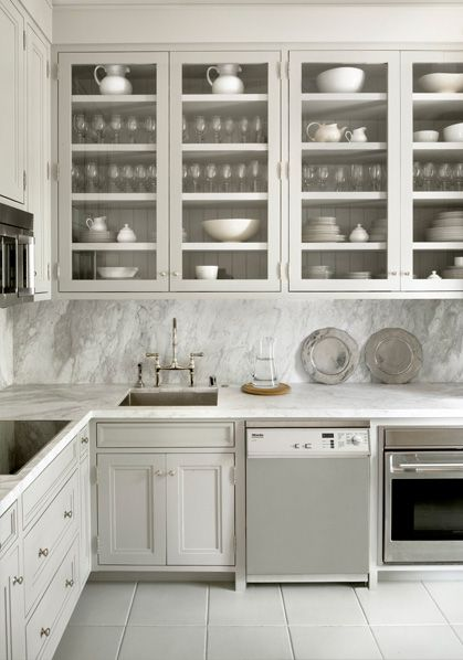 Pretty Warm Gray Cabinets With Carrara Marble Countertops And Slab Backsplash Home Kitchens Kitchen Interior Kitchen Design