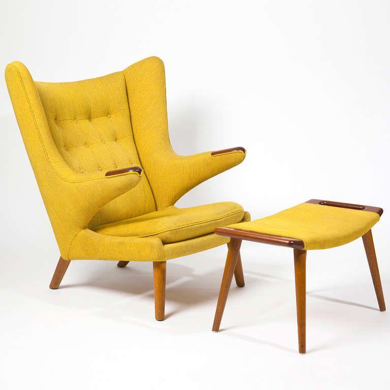 "armchair ""papa bear"" with footstool by hans j. wegner"