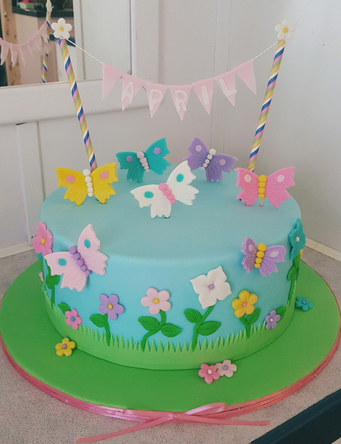 Fine Butterfly And Flowers Birthday Cake Spring With Images Personalised Birthday Cards Akebfashionlily Jamesorg