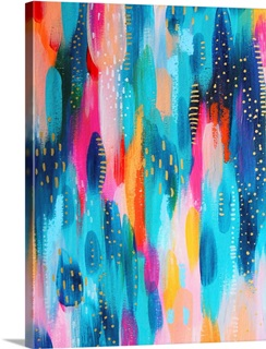 Bright Brush Strokes Teal And Light Pink Solid-Faced Canvas Print