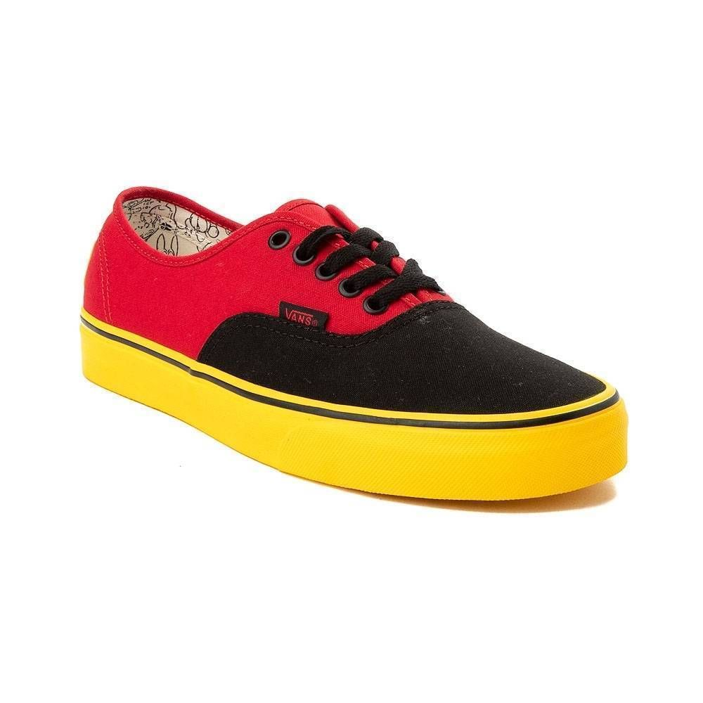 9ce4d3825ffe59 New Disney x Vans Authentic Skate Shoe Mickey Red Yellow Black Mens Size 10