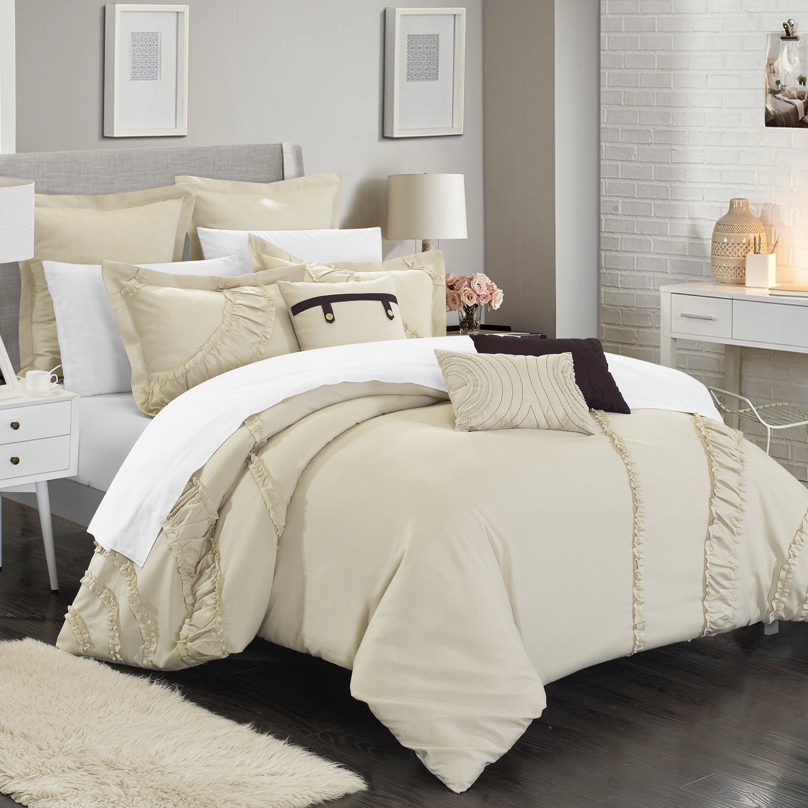 Dearly Microfiber Comforter Set by Chic Home Beige in 2019