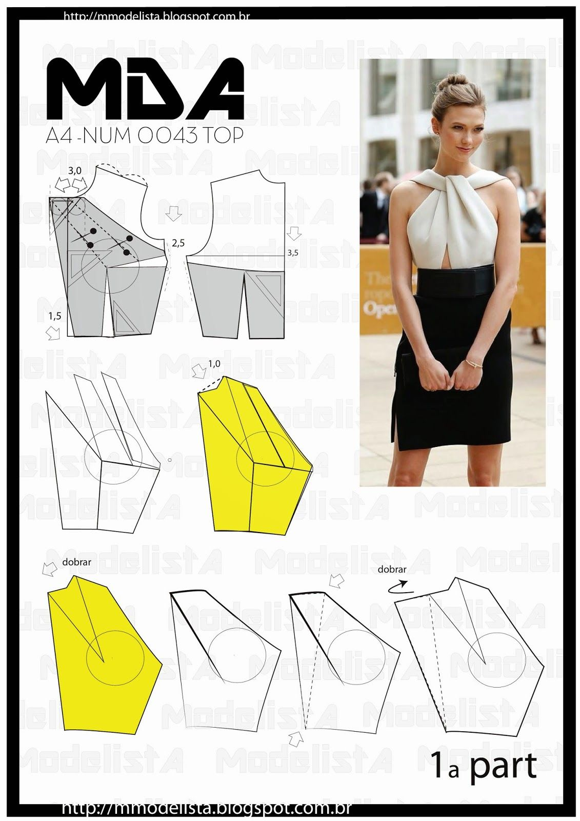 A4 NUM 0043 TOP | blouse pattern | Pinterest | Patrones, Molde y Costura
