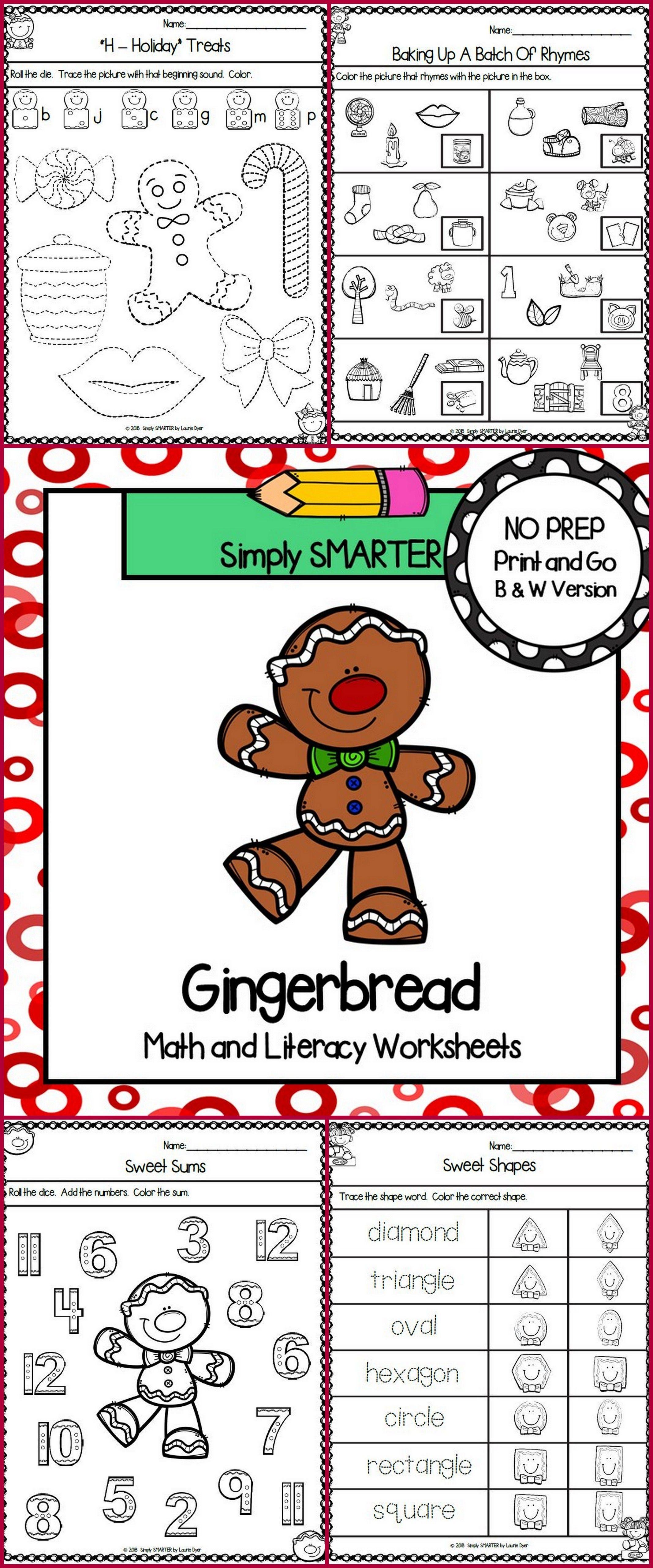 Gingerbread Themed Kindergarten Math And Literacy
