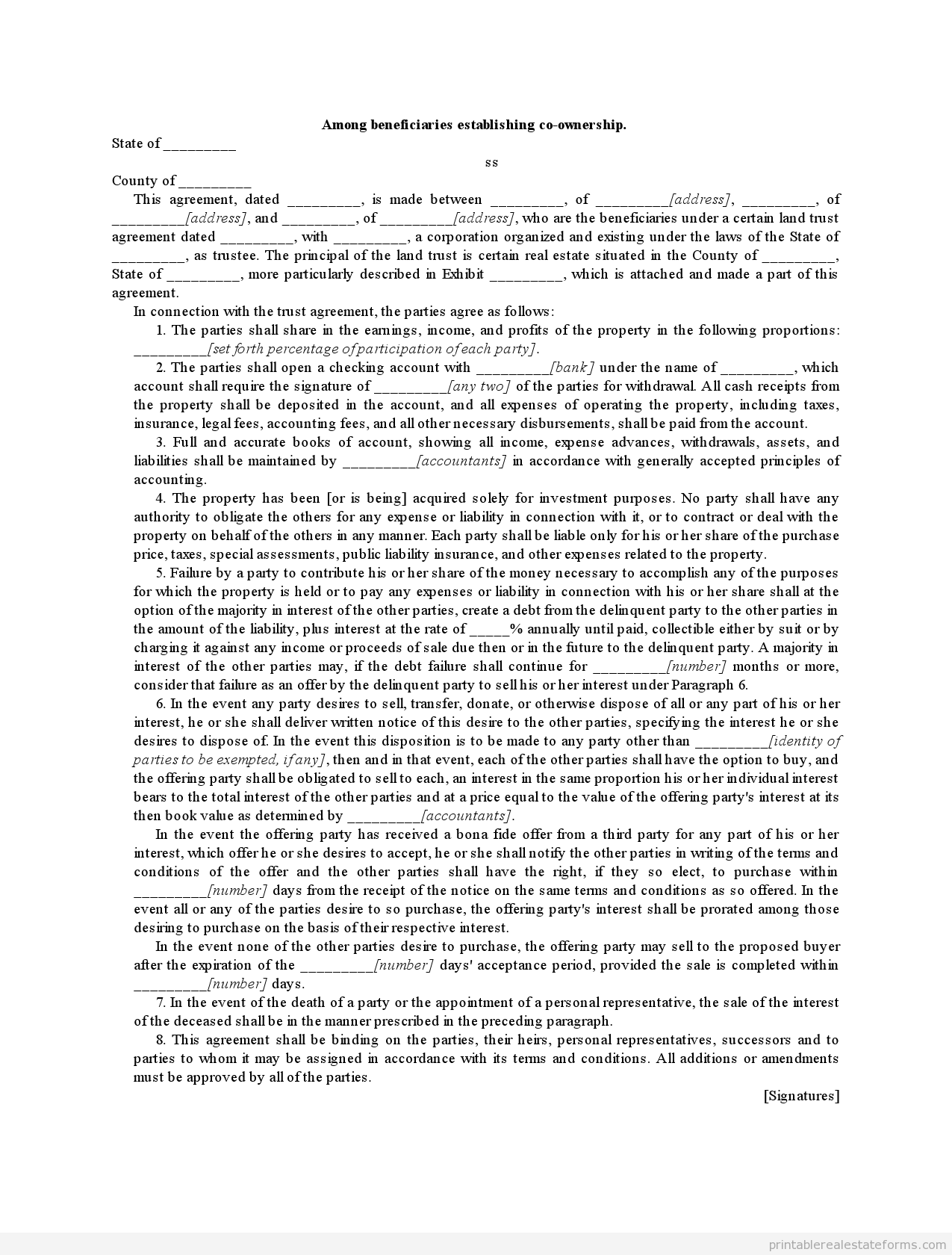 sample printable among beneficiaries establishing co ownership sample printable among beneficiaries establishing co ownership form