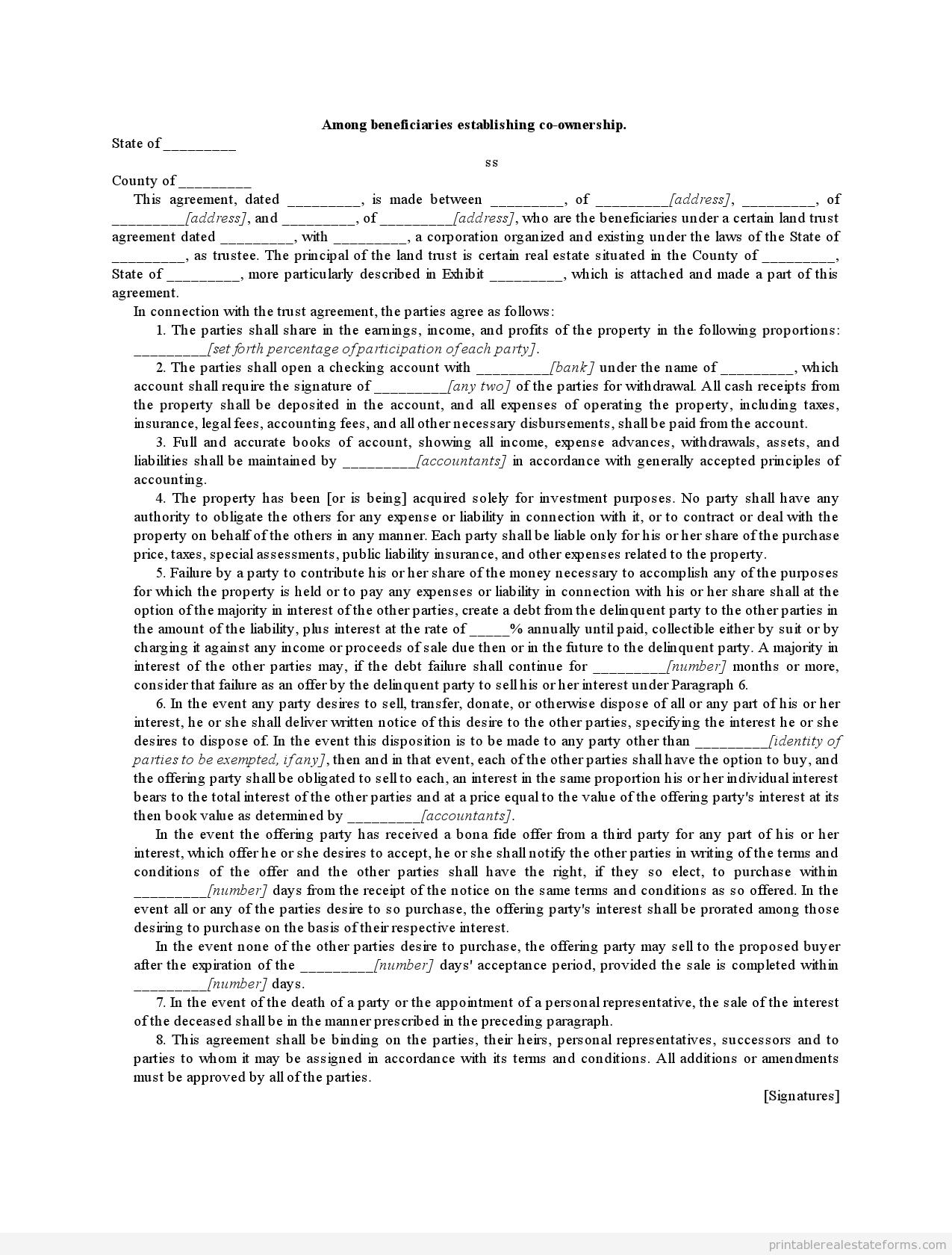 sample printable among beneficiaries establishing co ownership sample printable among beneficiaries establishing co ownership form