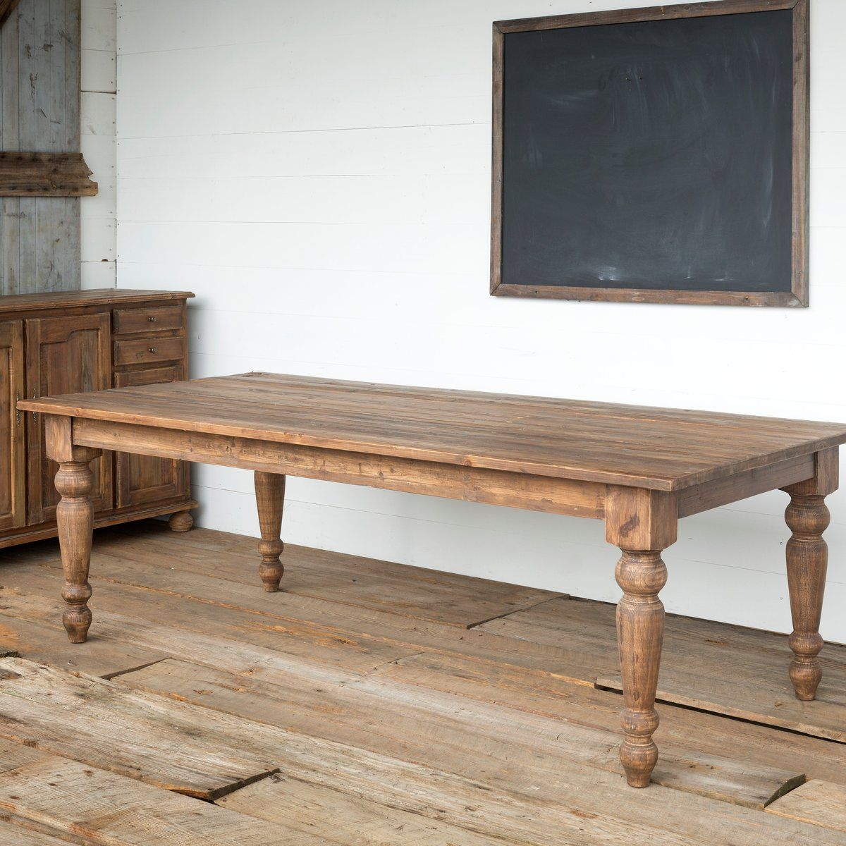 The Jo large dining table is part of our Kingsland Furniture Collection. This is a nearly 8 feet long pine farm table with large carved legs. Perfect for your large family or family gatherings. A sturdy solid table that will be a heirloom for generations to come. Large enough for plenty of chairs. (Imperfections are no