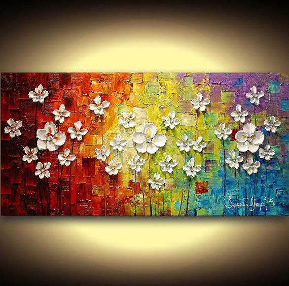 original peinture acrylique murale art palette fleurs emp tement textur uvre d art abstrait. Black Bedroom Furniture Sets. Home Design Ideas