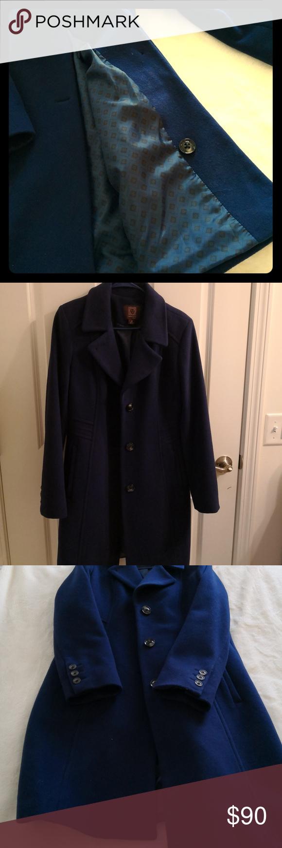 Anne klein overcoat size royal blue almost new anne klein