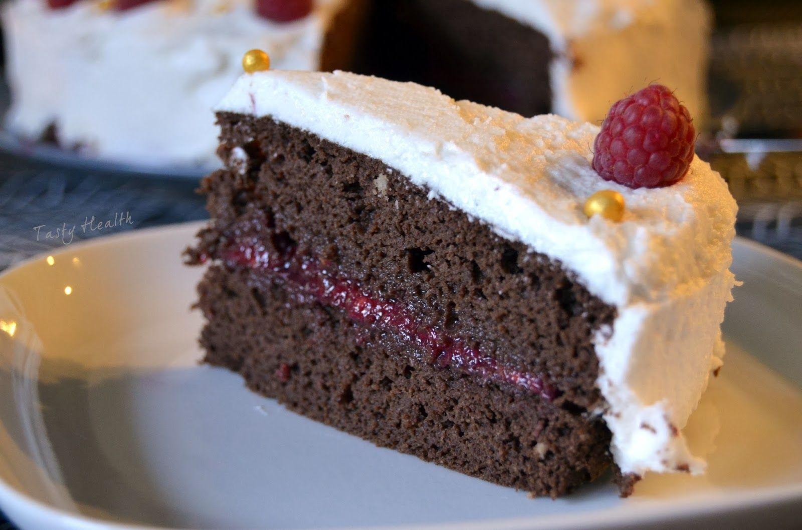 Tasty Health: Ljuvlig chokladtårta med hallon och kokosgrädde (och hur man gör kokosgrädde)
