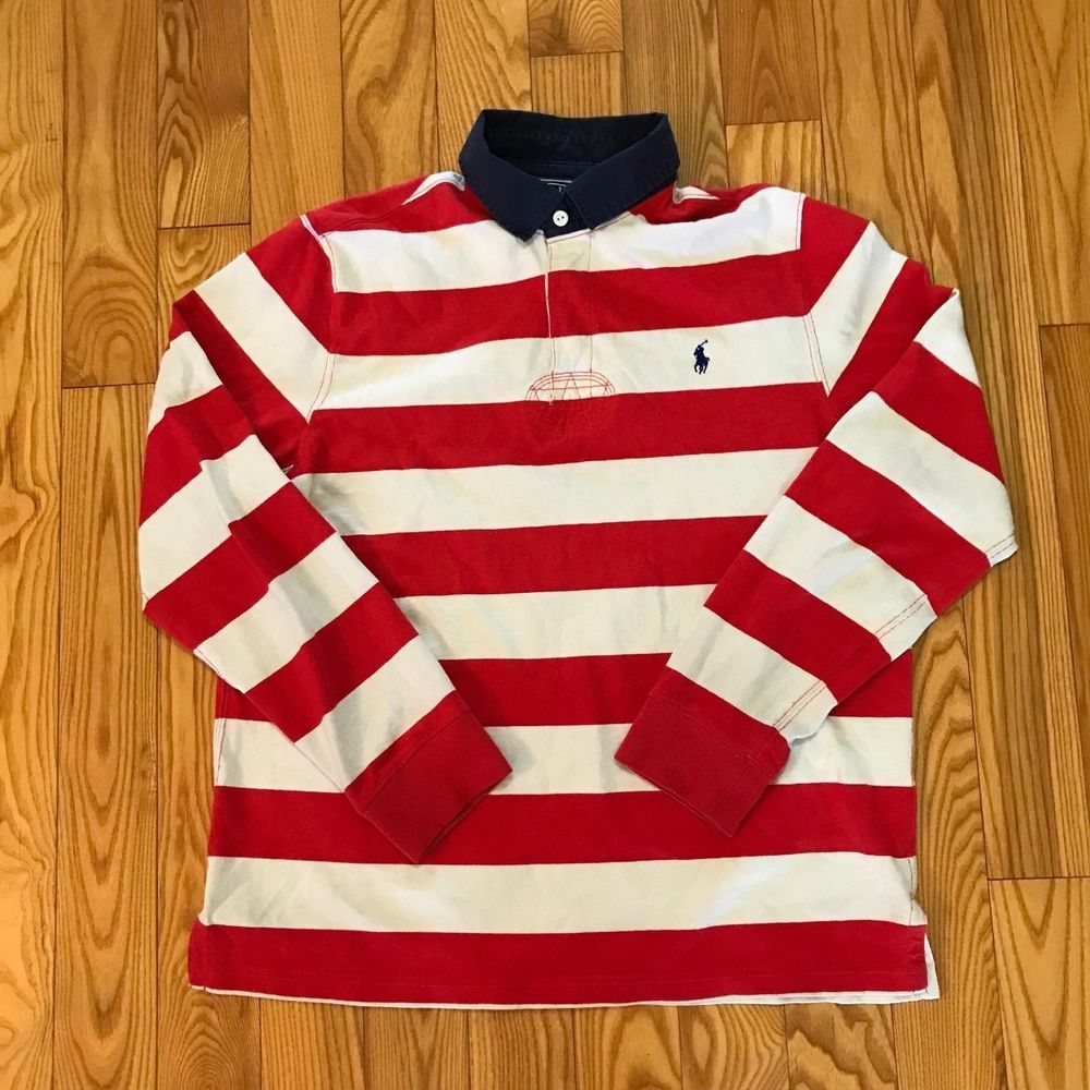9a4bf0db4d04 Vintage Polo Ralph Lauren Striped Rugby Shirt Size Large Candy Cane # PoloRalphLauren #PoloRugby