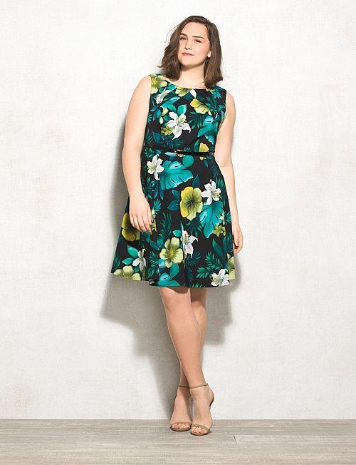 b4d35dc6800 Db Signature Plus Size Tropical Floral Darby Dress