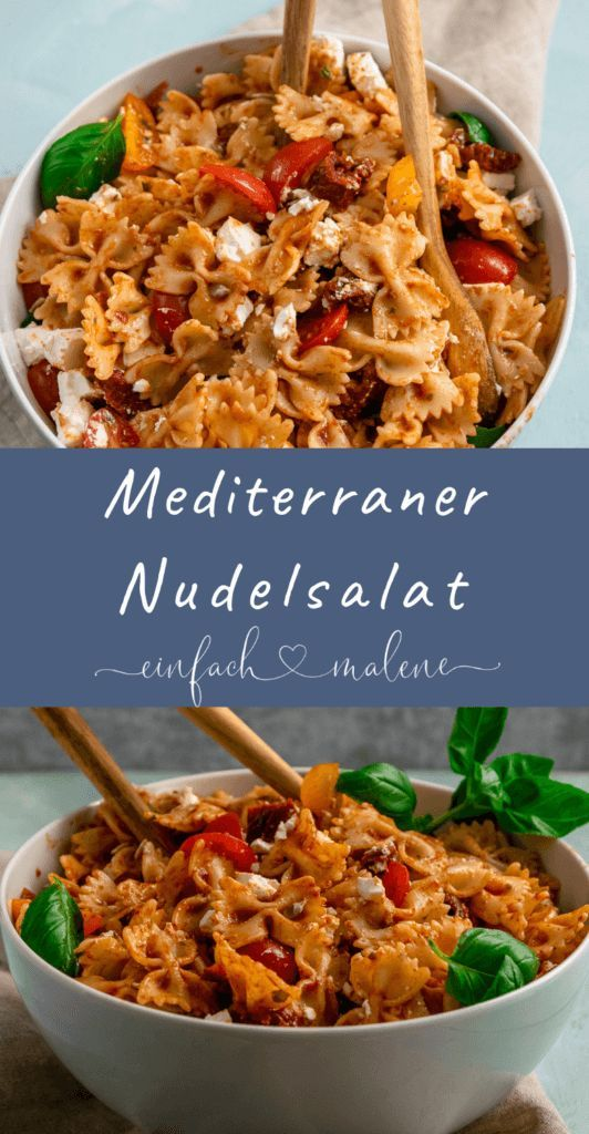 Photo of Mediterranean pasta salad with a fruity, spicy balsamic dressing. The per …