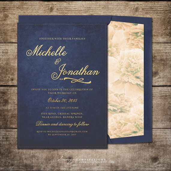 Navy Blue and Gold Wedding Invitation Printable Wedding Invitation