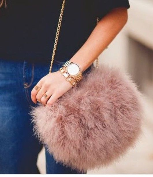 Bag Blush Fluffy Furry Purse Faux Fur Dusty Pink Chain Pouch