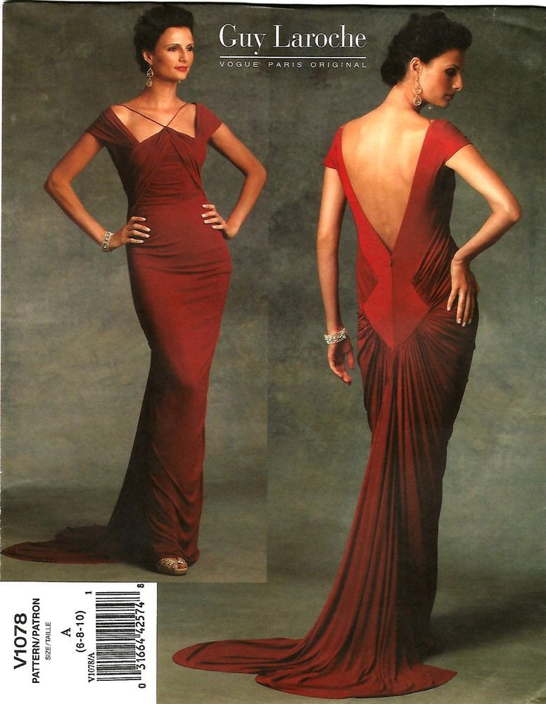 2008 Guy Laroche Vogue 1078 Evening Gown Dress 6/8/10 Pattern Uncut ...