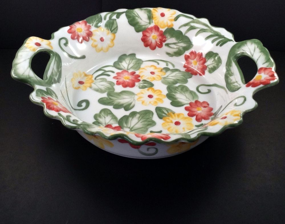Temptations by Tara Serving Dish Bowl Open Handle Spring Flowers Red ...