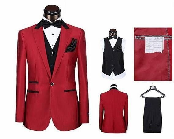 Men S Clothing Hot Red Jacket Black Lapel Men S Wedding Suits Prom Groomsman Tuxedo Custom New Clothes Shoes Accessories Dunes Com Lb