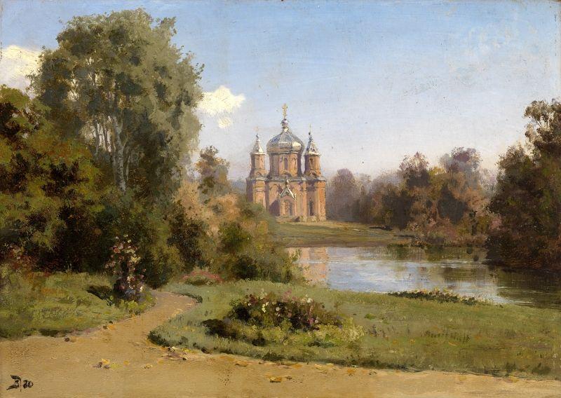 The Moscow court yard landscape church Dream-art Oil painting Polenov Vasilij