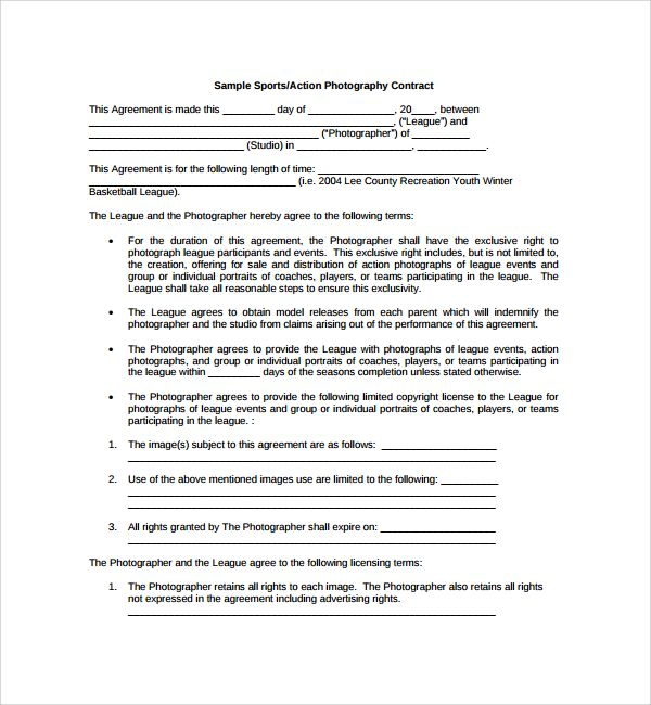 Sample Photography Proposal Template - 9+ Free Documents in PDF - performance agreement contract