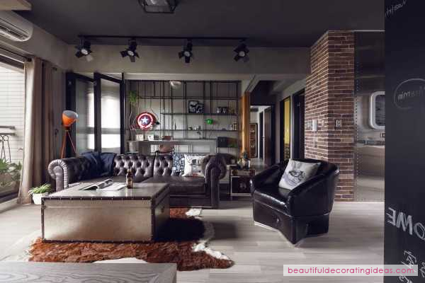 House · wonderful marvel heroes themed house with cement finish and industrial really feel