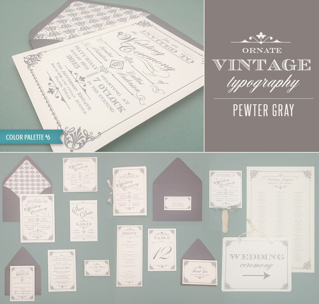 Diy Ornate Vintage Wedding Invitation Collection In Pewter Gray