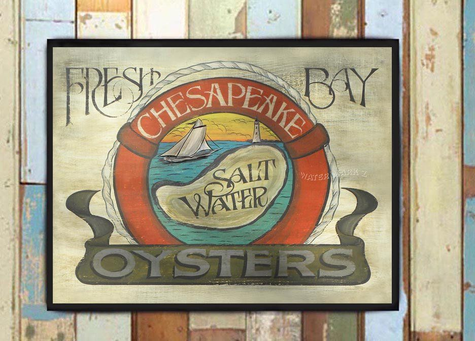 Chesapeake Bay Oyster Print art decor  vintage  style sign seafood bay maryland